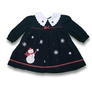 Smocked Winter Dress Frosty Snowman